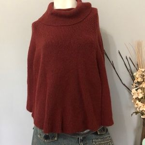 a New day Burgundy sweater poncho, one size
